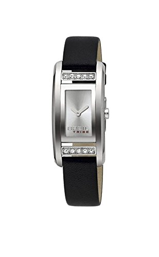 Breil Ladies Tribe Silver Dial Swarovski Crystal Stone Set Case Black Leather Strap Dress Watch TW0435 4159