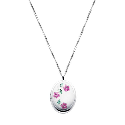 Sterling Silver Pink Enamel Flower Engraved Locket Pendant (1
