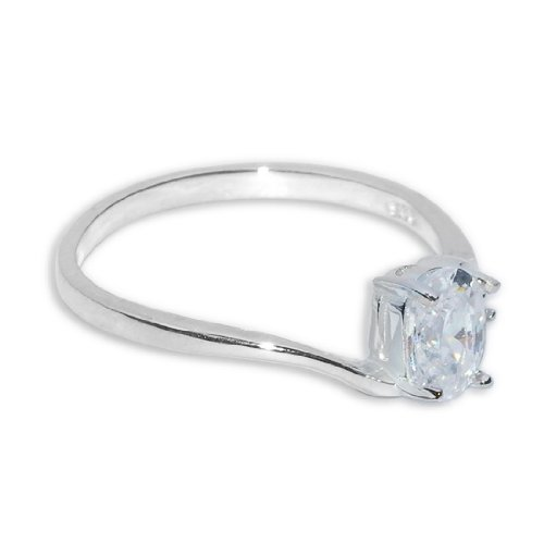 Donna in Argento Sterling 925 Band Anello solitario con Zirconia cubica - 6,5