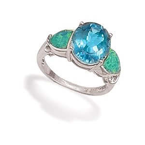 Sterling Silver Oval Blue CZ and Synthetic Green Opal Ring / Size 6