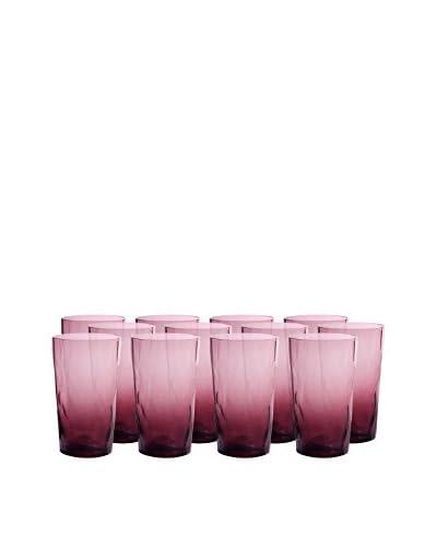 Artland Ripple Set of 12 Highball Glasses, Plum