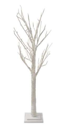 4' Pre-Lit Elegant White Birch Artificial Twig Tree - Clear Led Lights