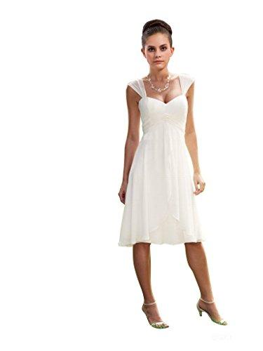 Lover Dress Women's Chiffon Short Wedding Dress Cocktail Party Dresses White (Us8