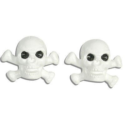 Trick Tops Skull and Bones Valve Caps pr. White