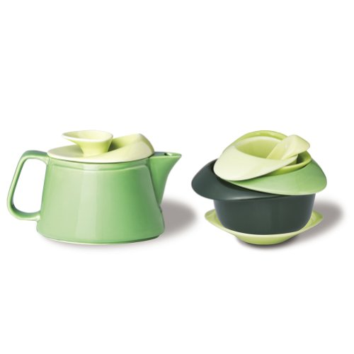 Rose Stylized Porcelain Cup Set With A Matching Teapot (Green Color)