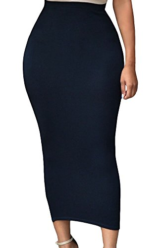 Sexy Womens Solid High-waisted Bodycon Cotton Maxi Skirt (Large, Black) (Sexy Long Skirts)