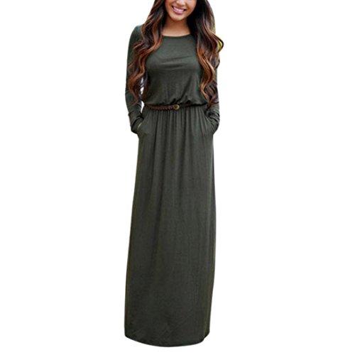 Wensltd Women Sexy Boho Maxi Dress Summer Long Sleeve Evening Party Beach Dress (M, Army Green)
