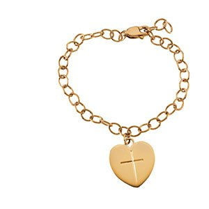 Childrens 14k Yellow Gold Heart and Cross Bracelet