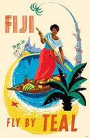 Teal Airlines Fiji Travel Poster in Plastic Cover