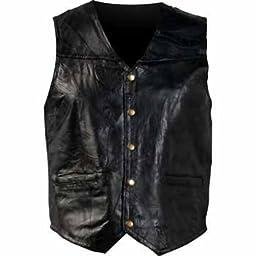 Mosaic Leather Biker Vest Black, Black, 3XL
