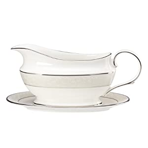 Lenox Opal Innocence Sauce Boat and Stand, White