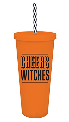 """22 oz Halloween Tumbler Cup """"Cheers Witches"""" Orange Acrylic Cup with Lid and Straw"""