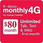 $80 T-Mobile Prepaid Plan  SIM Card Unlimited Talk