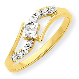 10K Yellow Gold Cubic Zirconia Promise Ring (7)