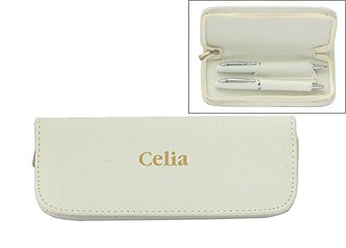 set-de-pluma-en-estuche-de-cuero-artificial-de-color-blanco-con-nombre-grabado-celia-nombre-de-pila-