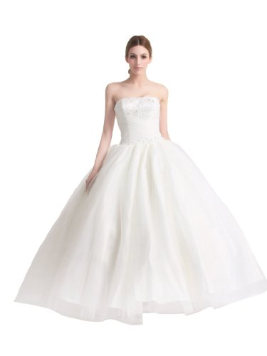 Artwedding Strapless Tulle over Satin Bridal Ball Gown with Sequined Embroidery and Rhinestone,Ivory,12