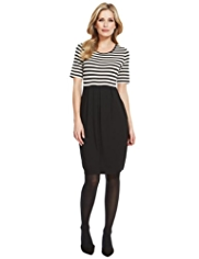 M&S Collection Striped Pleated Bodice Dress