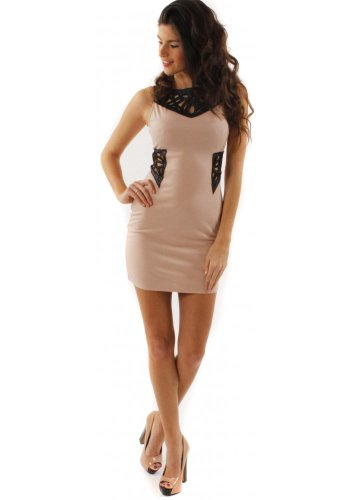 House Of Dereon Dress Nude & Black Die Cut Out
