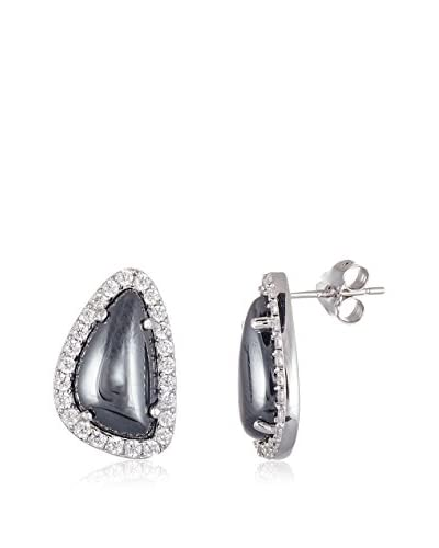 Annabella Lilly Sterling Silver Iron Gallstones & CZ Post Earrings