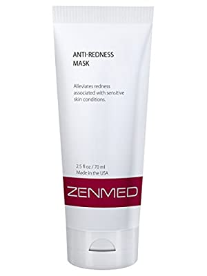 ZENMED Anti-Redness Mask Visibly Decreases Redness Facial Irritation Sunburn Burning Rosacea Sensitive Skin on Contact Willow Bark Extract Certified Organic Aloe Vera Gel Moisturizing Calming Gel Mask 2oz.