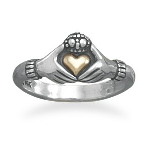Sterling Silver Claddagh Ring with 14 Karat Gold Heart / Size 9