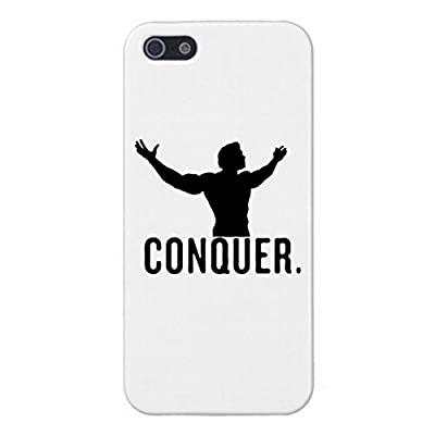 CONQUER iPhone 5/5s White Case Cover, Arnold Schwarzenegger Gym Bodybuilding Arnie Bodybuilder Mr Olympia Muscle Fitness Skin