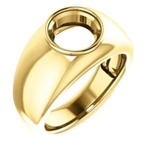 14K Yellow Gold, Men's Ring Mounting for Gemstone, Size ...