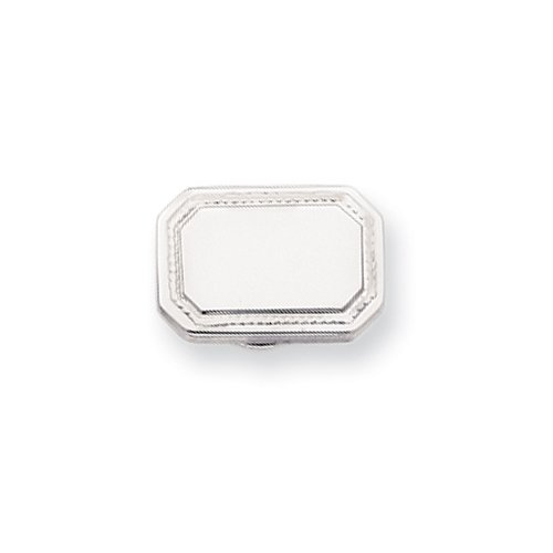 Rhodium-plated Polished Rectangle Tie Tack