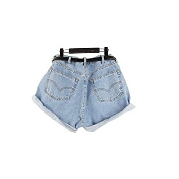 Lady Women Retro Girl High Waisted Oversize Crimping Boyfriend Jeans Shorts Pant