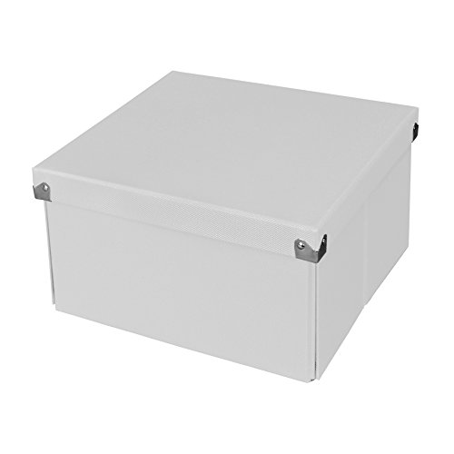 Pop n' Store Decorative Storage Box with Lid - Collapsible and Stackable- Medium Square Box - White - 9.75