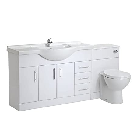 VeeBath Linx 1700 White Bathroom Set 1200 Vanity with WC Unit, Round Pan,Cistern