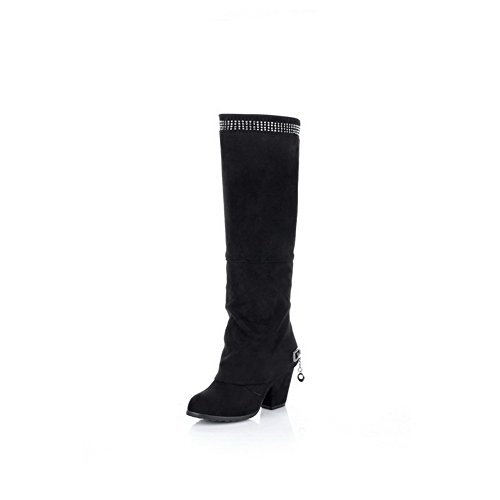 VogueZone009 Womens Closed Toe Round Toe High Heels Imitated Suede Frosted Solid Boot with Chunky Heels