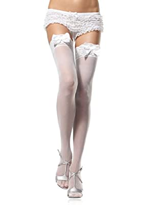 Leg Avenue Women's Sheer Lace Top Thigh High Stockings With Bow