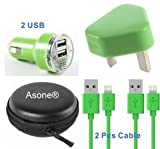 Asone Green 4-in-1 Earphone/cable Hard Case/Bag + Wall Charger + Car Charger+ 1M Length USB Sync Data / Charging Cable for iPhone 5 / 5C / 5S iPad Mini iPod Touch 5th Gen