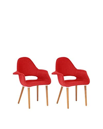 Manhattan Living Set of 2 Forza Dining Chairs, Red