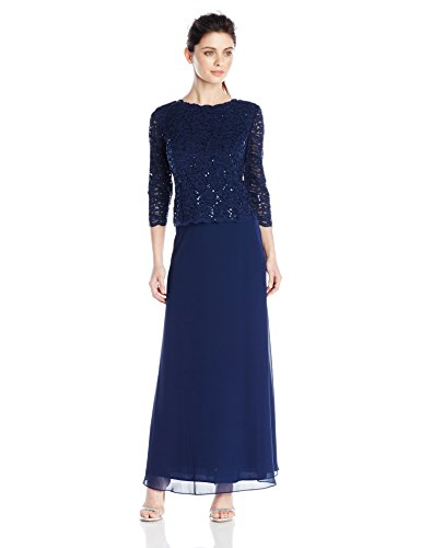 Alex Evenings Women's Petite Long Mock Dress