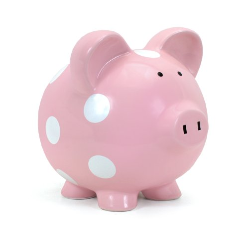 Pink with White Polka Dot Piggy Bank