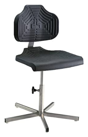 "Milagon EDJ WS1410 Polyurethane Workseat on Stainless Steel Base Chair, Low Profile, 17""-24"" Adjustment Height"