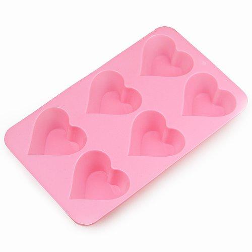 Moldes de acero inoxidable para Wholeport de horneado de silicona para magdalenas 6-agujeros en forma de corazón