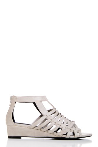 Gladiator Sandals with Mini Wedge in Light Grey