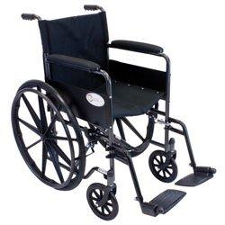 Roscoe Medical K11616Flrsa K1-Lite Wheelchair Removable Desk-Length Arms Powder-Coated Silver Vein Steel