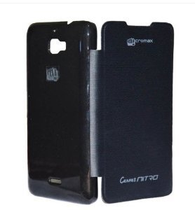 Phonoholic flip cover for micromax Nitro A 311 Black (nitro new model) with Screen guard