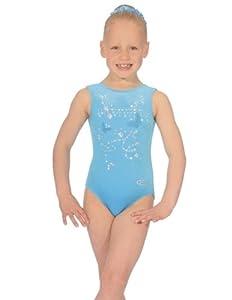 """The Zone Z103PAN justaucorps de gymnastique sans manches avec strass en velours lisse, turquoise, taille 24"""""""