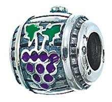 CleverEve Designer Series Zable Food Themed Sterling Silver Wine Barrel with Grape Print Charm Bead