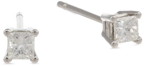 Platinum, Princess-Cut, Diamond 4-Prong Stud
