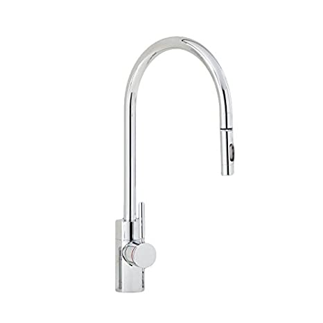 Waterstone 5400-AB Parche Contemporary Single Handle Pull Out Spray PLP Kitchen Faucet Antique Brass
