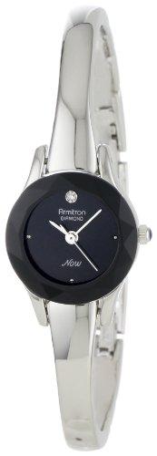 Armitron Women's 752433BLK NOW Diamond Accented Silver-Tone Bangle Dress Watch