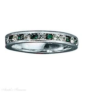 Sterling Silver May Birthstone Eternity Ring Size 7