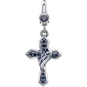 Sterling Silver Black CZ Cross Charm: 22X14 mm