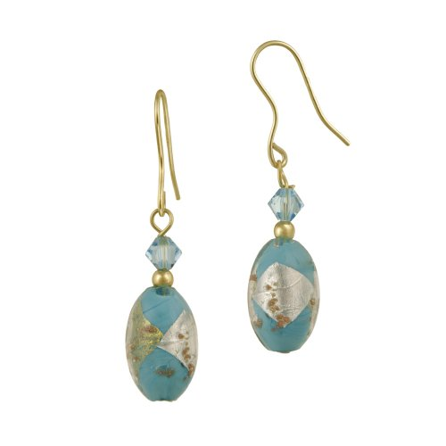 18k Gold Plated Sterling Silver Multi-Blue Hand Blown Glass Oval Bead and Crystal French Wire Earrings